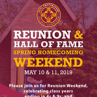 Save May 10-11 for Reunion, Hall of Fame & NEW Spring Homecoming! in the spotlight
